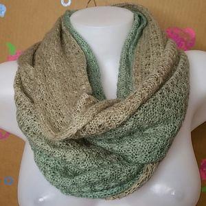 Pistil Tan & Green Sweater Infinity Scarf